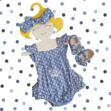 Jardineira Íris azul jeans poá