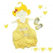 Jardineira Zoe xadrez amarelo