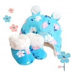 Kit ursinho soft floral azul