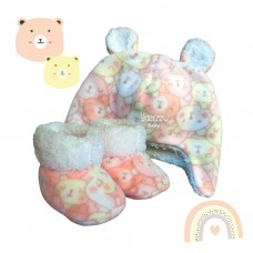 Kit ursinho soft estampado rosa