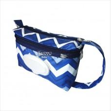 Porta fraldas chevron azul marinho