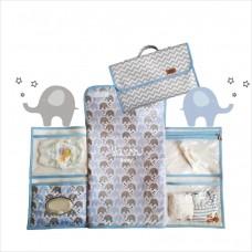 Trocador portátil chevron elefantinho azul