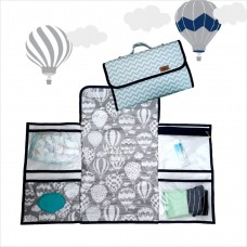 Trocador portátil chevron balão cinza azul marinho